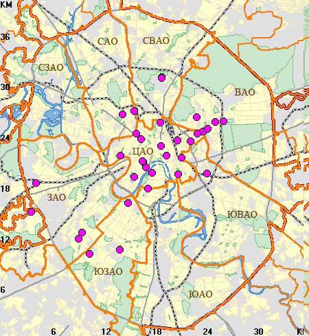 Бизнес-школы на карте Москвы