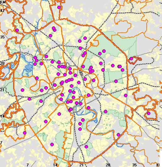 больницы на карте Москвы